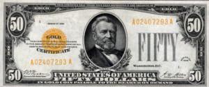 """שטר של 50 דולר, המקנה למחזיק בו את הזכות להמיר אותו במטבעות זהב הלך חוקי של ארה""""ב, בשווי 50 דולר. סדרת השטרות של 1928, ארצות הברית"""